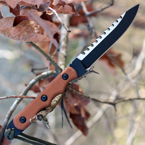 "TOPS TPRBL02 Ranger Bootlegger 2, 5"" 1095 Double Edged Sawback Blade, Tan Canvas Micarta Handle"