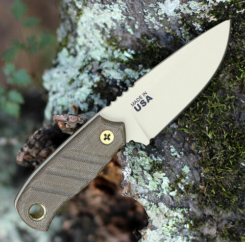 TOPS Baja 3.0 Fixed Blade, Coyote Tan 1095 High Carbon, Green Micarta Handle