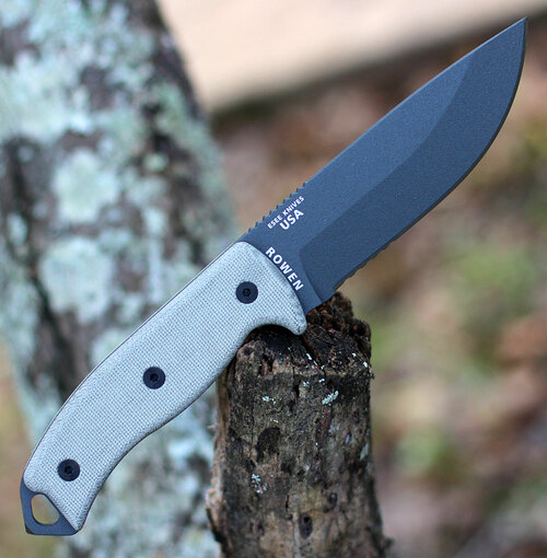 ESEE Knives, 5S-TG, Tactical Gray Partially Serrated Blade, Micarta Handle, Black Kydex Sheath and Clip Plate
