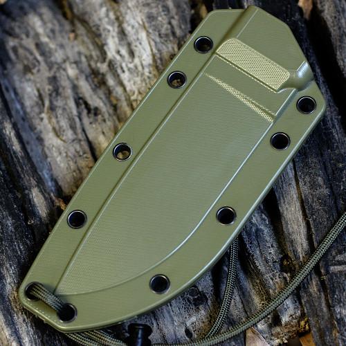 ESEE 4P-DT, Desert Tan Blade, Green Molded Sheath With Clip Plate, Plain Edge