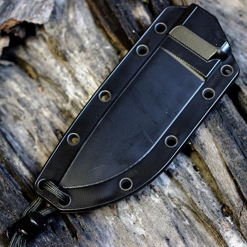 ESEE Knives, 4S-MB-B, Black Blade, Combo Edge, Micarta Handle, Black Molded Sheath, Clip Plate, and Molle Back