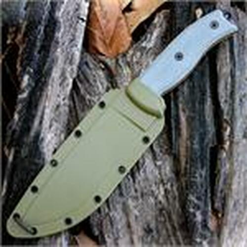ESEE-6 Plain Edge, Rounded Pommel, Green Sheath w/ Clip Plate