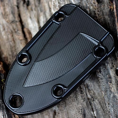 ESEE Candiru Black Kit, CAN-B-KIT, Black Molded Sheath, Clip Plate, and Survival Kit