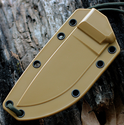 ESEE 3SM-MB Combo Edge, Modified Pommel, Coyote Brown Molded Sheath w/ MOLLE Back