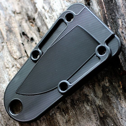 ESEE IZULA-B-ANT-CS, Black Izula w/ Ant Swarm Engraving, Injection Molded Black Sheath, Clip Plate
