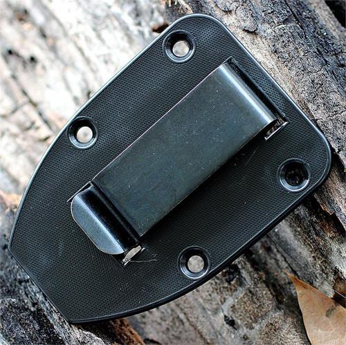 ESEE 3MIL-P-BLK, Plain Edge, Black Molded Sheath, G-10 Handle, Molle Back