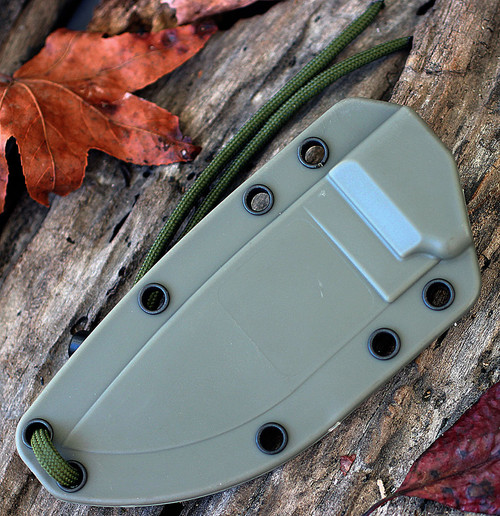 ESEE 3PM-MB-DT, Plain Edge, Modified Pommel, Foliage Green Sheath, Boot Clip w/ Molle Back