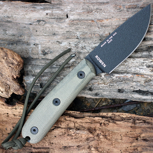 ESEE Model 4, 4HM-B, Black Plain Edge, Modified Canvas Handles, Brown Leather Sheath