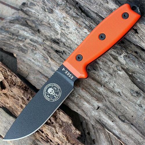 ESEE Advanced Survival Kit, Orange Cordura Bag, Map Case, w/ ESEE 4P Black Blade, Orange G10 Handle