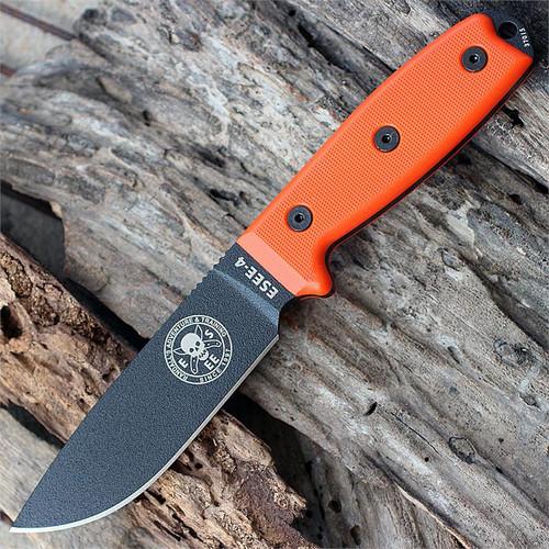 ESEE Advanced Survival Kit, Orange Cordura Bag, Map Case, w/ ESEE 4P Black Blade, Orange G10 Handle