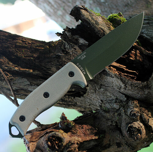 ESEE Cutlery Model 5, Green Canvas Micarta, OD Blade, Kydex Sheath, Plain Edge
