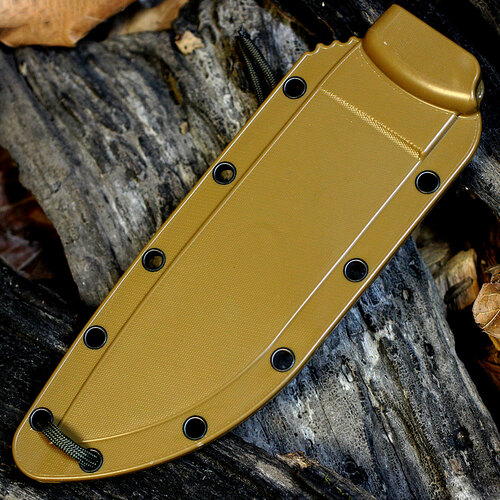 ESEE-6S Combo Edge, Rounded Pommel, Coyote Brown Sheath w/ Clip Plate