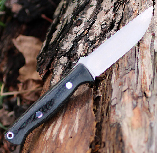 "Bark River 013MBC Gunny, 3.75"" S35VN Plain Blade, Black Canvas Micarta Handle"