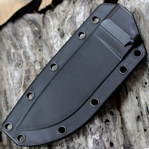 ESEE Knives, 4S-CP-MB-B, Black Double Blade,Combo Edge, Micarta Handle, Black Molded Sheath and Clip Plate, Molle Back