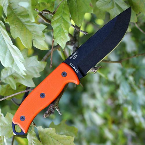 ESEE Model 5, Orange G-10 Handles, Black Textured Powder Coat Blade, (Special Run)