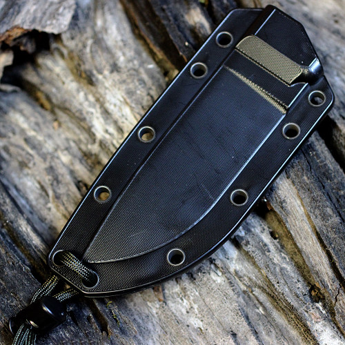 ESEE Knives, 4P-B, Black Blade, Plain Edge, Micarta Handle, Black Molded Sheath and Clip Plate