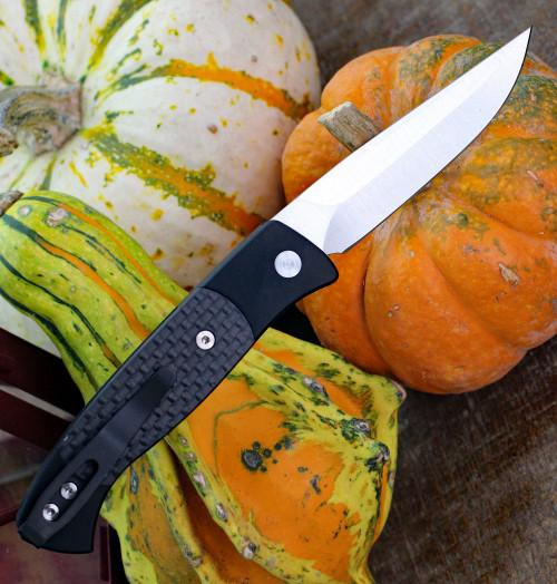 "Pro-Tech 1204 Small Brend 2 Automatic Knife, 2.9"" 154CM Satin Drop Point Blade, Black Aluminum Handle w/Carbon Fiber Inlay"