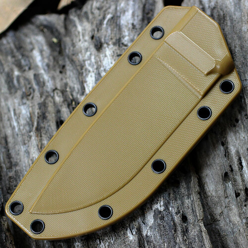 ESEE Knives, 4S-CP-MB, Black Double Blade,Combo Edge, Micarta Handle, Coyote Brown Molded Sheath and Clip Plate, Molle Back