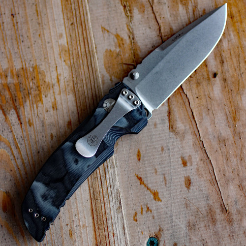 "Hogue EX01 4"" Tactical Drop Point Blade with G-Mascus Black G-10 Handles"