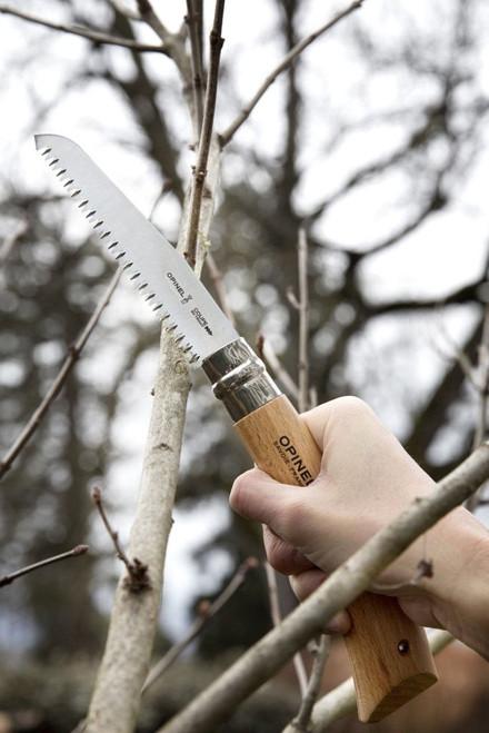 "Opinel Folding Saw OP65126, 5"" 12C27 Sandvik Saw Blade, Beechwood Handle-651266"
