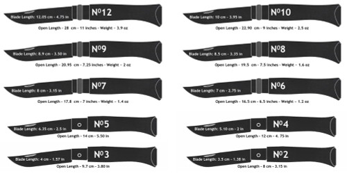 Opinel Ten Piece Carbon Set. Includes an Assortment of Ten Folding Knives of Various Sizes