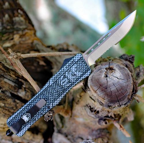"""CobraTec Knives MCFCTK-1MDS Medium CTK-1 Carbon Fiber Wrap, 3.0"""" D2 Steel Drop Point Serrated Blade, Aluminum Handle"""