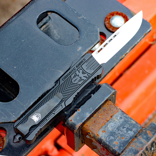 "CobraTec Knives LBCTK-1LDNS Large CTK-1 Black, 3.75"" D2 Steel Plain Blade"
