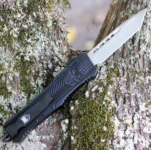 "CobraTec Knives LBCTK-1LTNS Tanto Large CTK-1 Black, 3.75"" D2 Steel Plain Blade, Aluminum Handle"