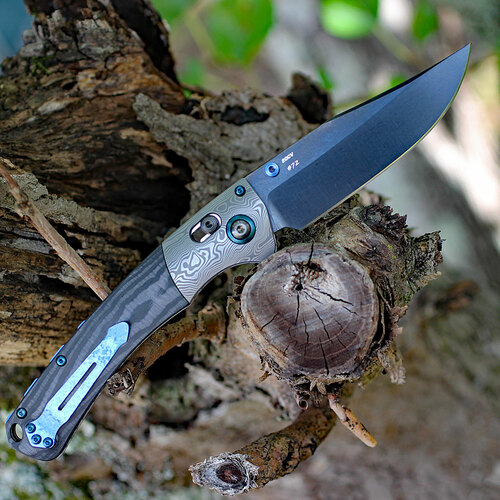 """Benchmade Crooked River 15080BK-191 Gold Class - Unidirectional Carbon Fiber (4"""" CPM-20CV Black)"""