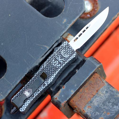 """CobraTec Knives SCFCTK-1SDNS Small CTK-1 Carbon Fiber Wrap, 2.75"""" D2 Steel Drop Point Blade, Aluminum Handle"""