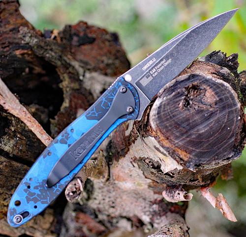 """Kershaw Leek Digital Blue 1660DBLU, 3"""" Sandvik Blackwash Blade, Digital Blue Handle"""