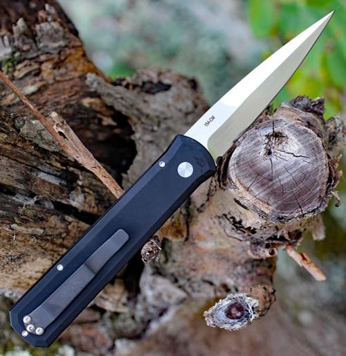 "ProTech 921-Satin Godfather, 4"" 154-CM Satin Blade, Black 6061-T6 Aluminum Handle"