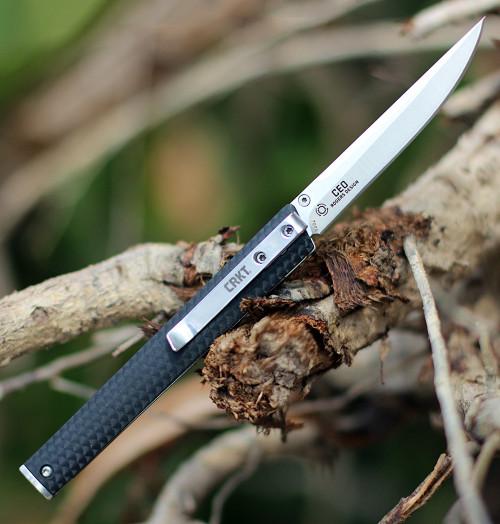 "CRKT Ceo Linerlock CR7096, 3"" 8Cr13MoV Satin Blade, Black GRN Handle"