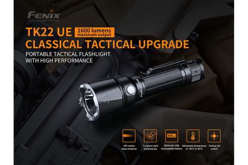 Fenix TK22 UE Rechargeable Portable Tactical Flashlight - 1600 Lumens