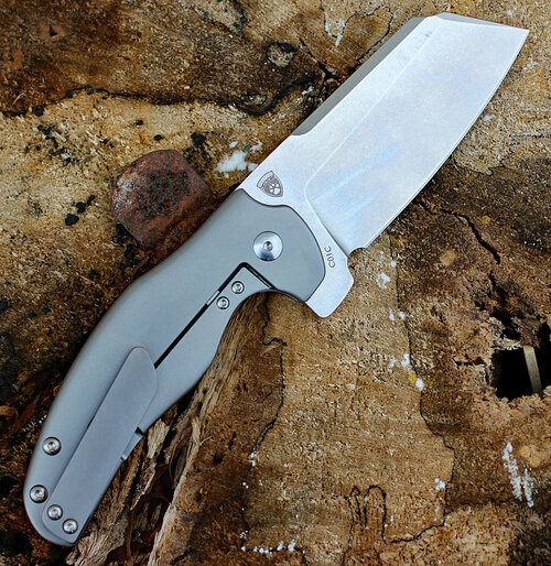 "Kizer Ki4488 C01C Sheepdog Knives, 3.3"" CPM-S35VN Stonewash Blade, Titanium Handle"