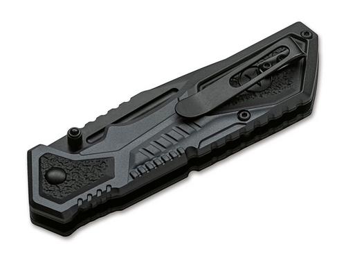 """Boker Plus AK-19 Linerlock, 3.5"""" 440C Black Plain Blade, Aluminum Handle (01KAL19)"""