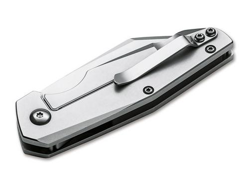 "Boker Plus Petit 42 01BO084, 2.8"" D2 Steel Satin Plain Blade, Stainless Steel Handle"