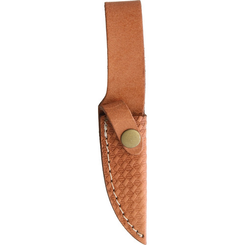 "Rough Ryder Short Skinner Leather Wrapped, RR1636, 3.5"" Satin Stainless Skinner Blade, Brown Stacked Leather Handle"