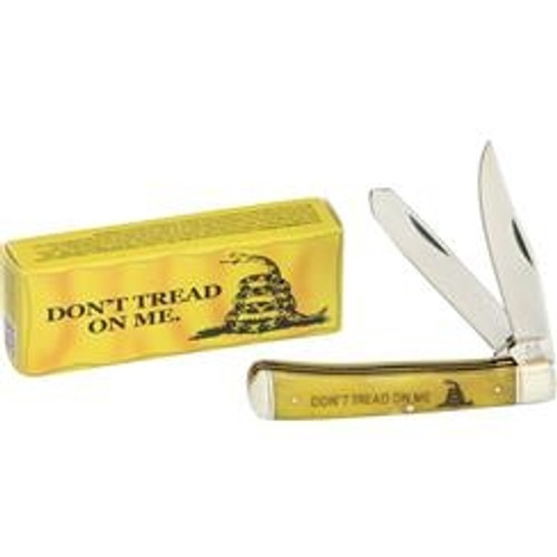 Rough Ryder RR1381 Trapper Don't Tread On Me, Stainless Steel, Yellow Smooth Bone Handle