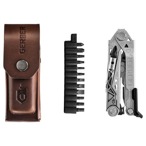 Gerber 30-001417 Center-Drive Plus Bits, Brown Leather Sheath