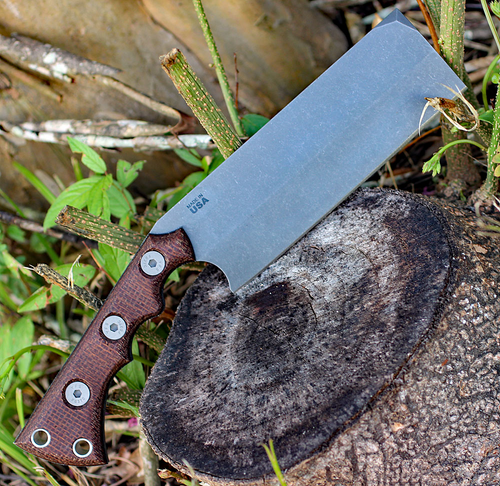 "TOPS Nata TNAT-01, 6.50"" 1095 Acid Rain Blade, Black Canvas/Brown Burlap Micarta Handle"