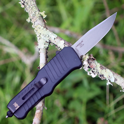 "HK Mini Incursion OTF Automatic, 2.95"" Tumbled Clip Point Blade, Matte Black Aluminum Frame-54050"