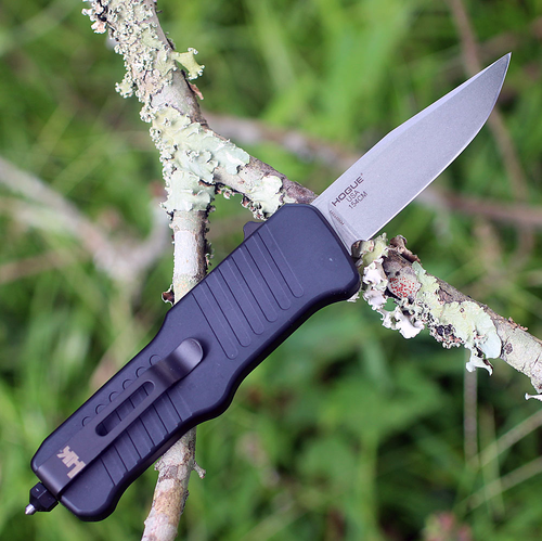 "HK Mini Incursion OTF Automatic, 2.95"" Tumbled Clip Point Blade, Matte Black Aluminum Frame-54050"