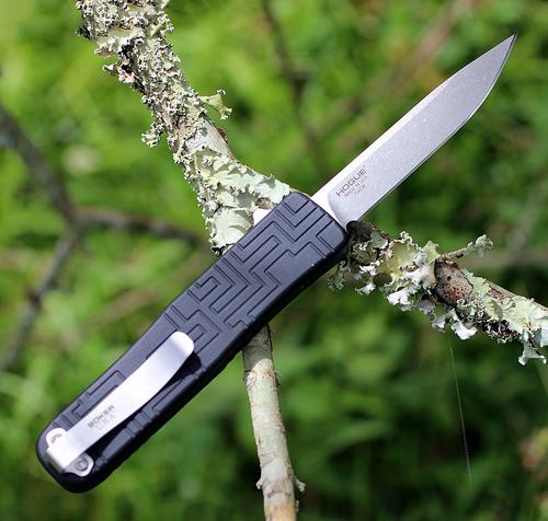 Boker Plus OTF Blackout 06EX260, 3.5 in. 154CM Stonewas Blade, Black Aluminum Handle