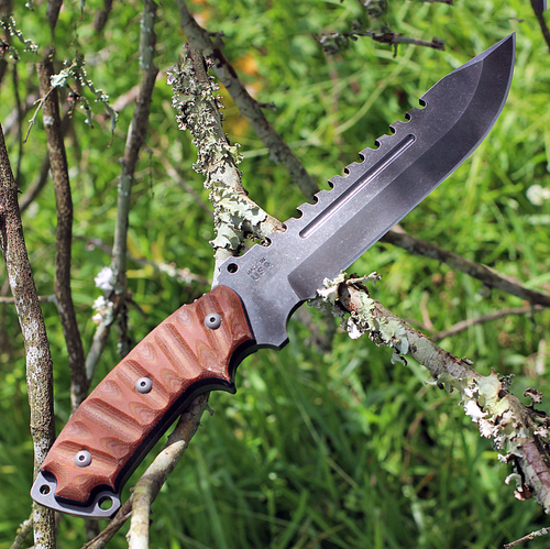 "TOPS Steel Eagle 107C Delta Class, 7.63""  Acid Rain Finish w/The Operator's Edge Blade, RMT Tan Canvas Handle"