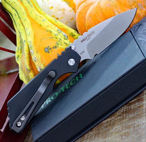 "ProTech 2301-SW Pro-Strider PT, 2.75"" 154cm Stonewash Plain Blade, Smooth Aluminum Handle"