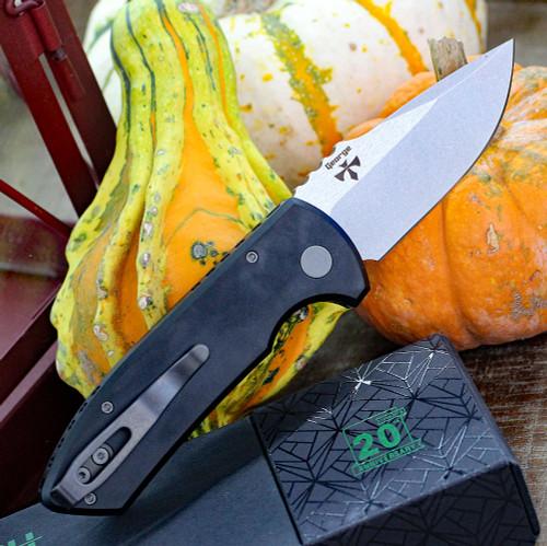 "ProTech LG405-SBR Grip Milled Black, 2.5"" S35-VN 2-Tone Plain Blade, Aluminum Handle"
