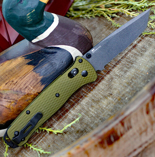 """Benchmade Bailout 537SGY-1, 3.38"""" CPM-M4 Grey Coated Serrated Tanto Blade, Green Aluminum Handle"""