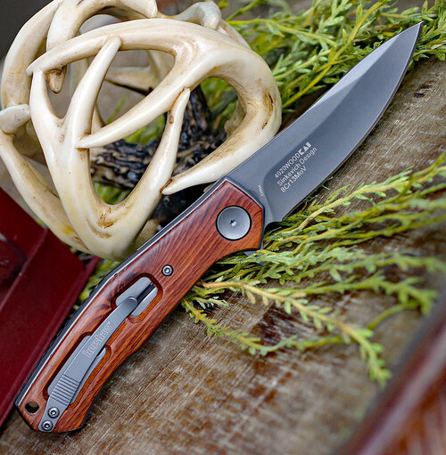 """Kershaw Concierge Linerlock, KS4020W, 3.25"""" Gray Stainless Blade, Wood Handle"""