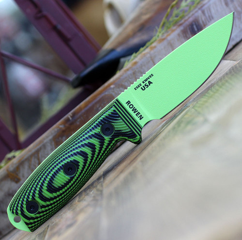 "ESEE-3 3PMVG-007, 3.88"" 1095 Carbon Steel Green Plain Blade, Neon Green/Black G10 3D Handle, Black Sheath"